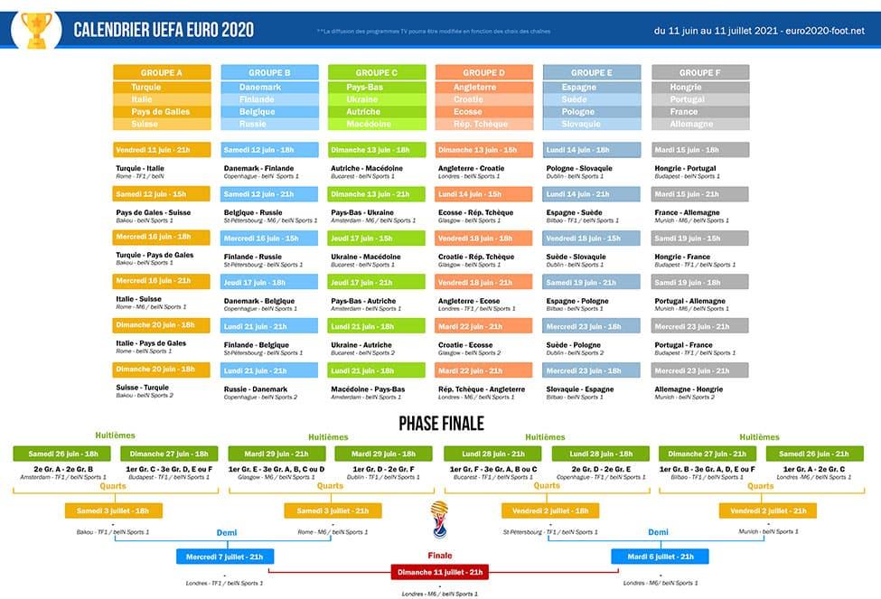 Téléchargez le Calendrier de l'Euro 2020 en PDF version imprimable