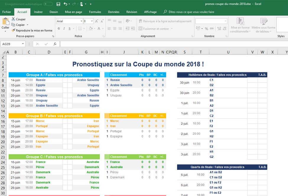 T l chargez le simulateur excel de la coupe du monde fifa 2018 - Resultats de la coupe du monde ...