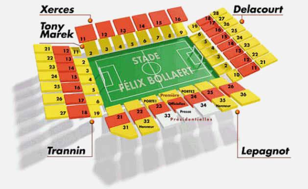 Plan du Stade Félix Bollaert