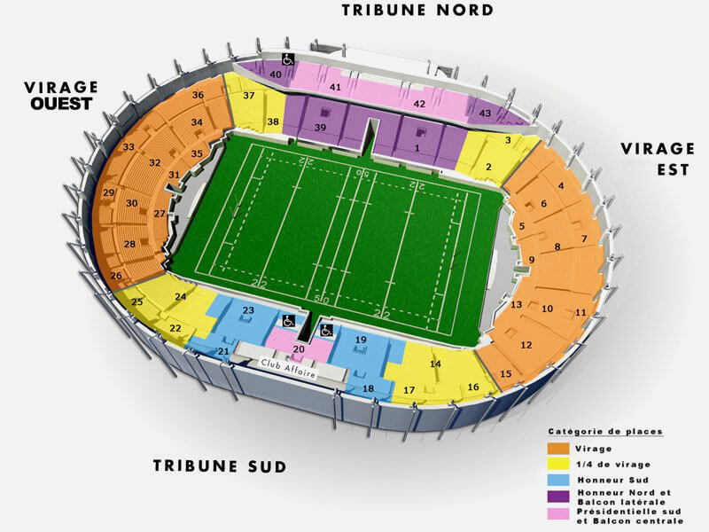 Plan du Stadium de Toulouse